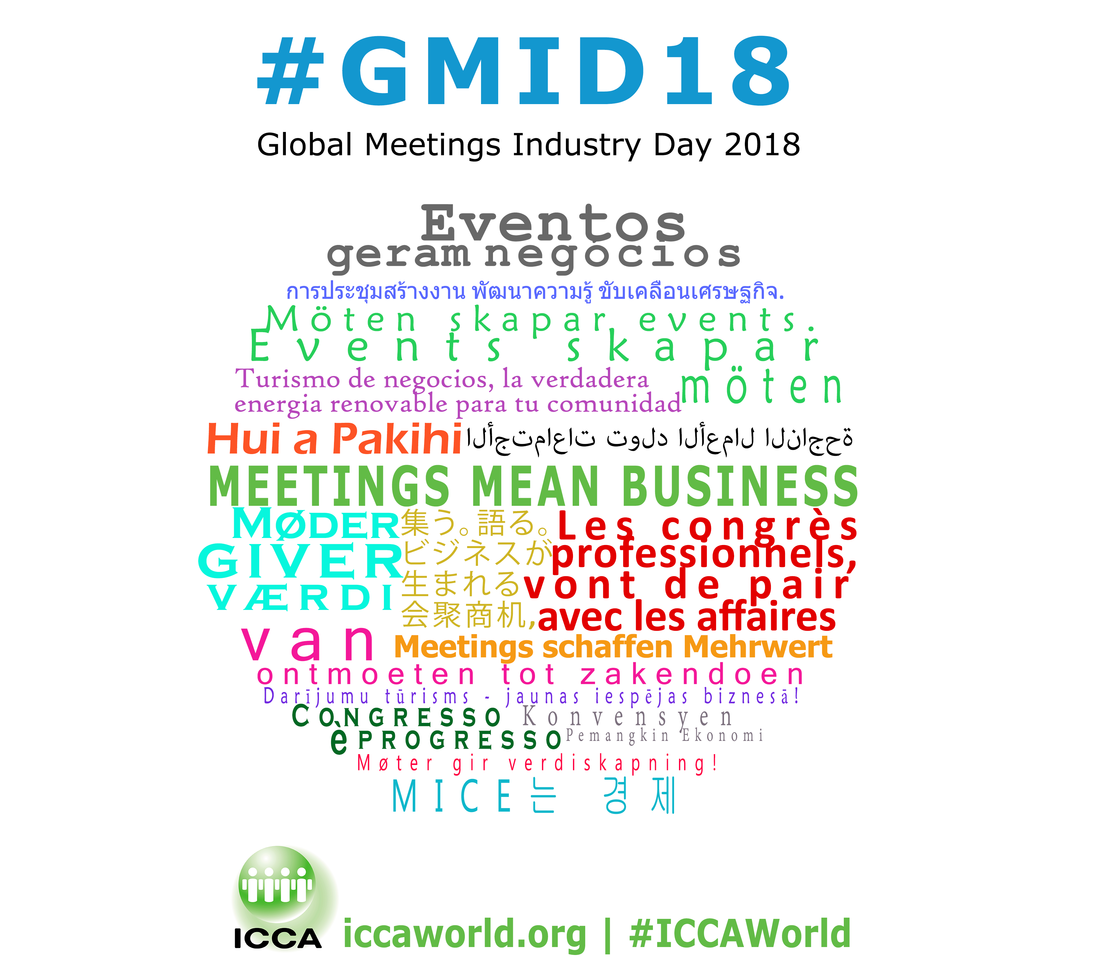 'Meetings Mean Business' in many different languages - Global Meetings Industry Day 2018