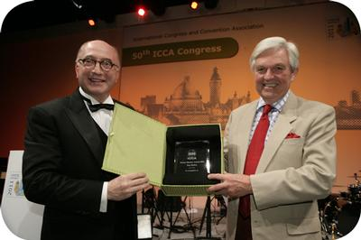 Tom Hulton honoured at 50th ICCA Congress in Leipzig, Germany with Moises Shuster Award