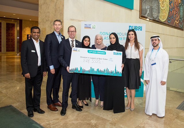 ICCA Congress delegates raised €5,555 in total for local blindless prevention charity Noor Dubai Foundation.